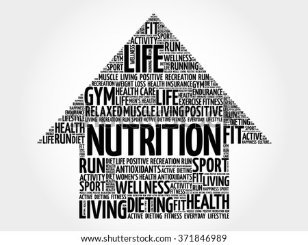 Nutrition arrow word cloud, health concept - stock vector