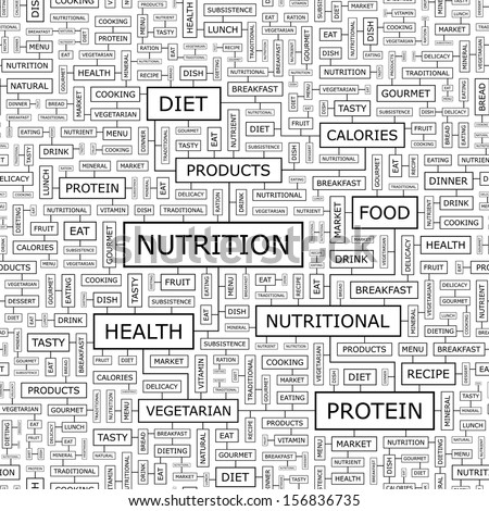 NUTRITION. Concept vector illustration. Word cloud with related tags and terms. Graphic tag collection. Wordcloud collage. Seamless pattern.  - stock vector