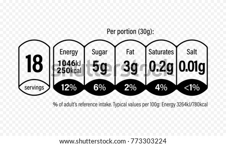 Nutrition Facts Information Label Cereal Box Stockvector
