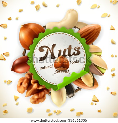 Nuts, vector label - stock vector