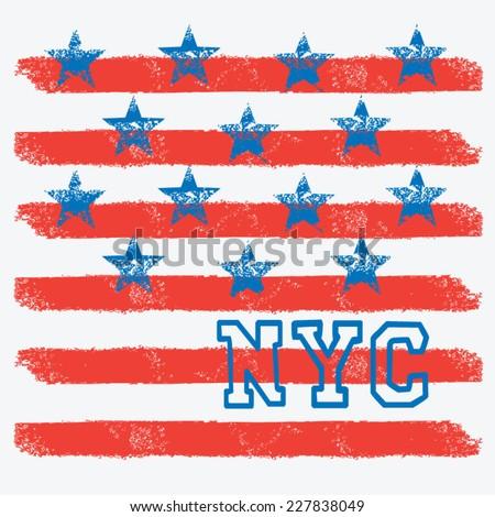 NYC america flag, t-shirt graphics, vectors - stock vector