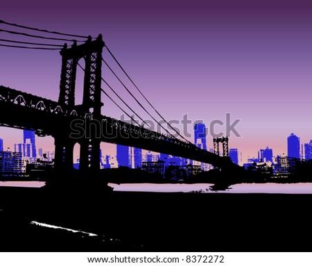 NYC and Bridge - stock vector