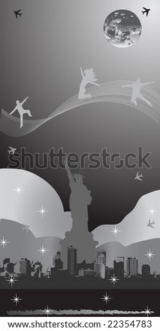 NYC Night Poster black and white edition - stock vector