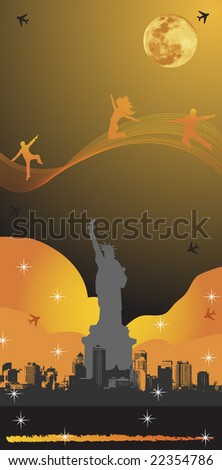 NYC Night Poster color edition - stock vector