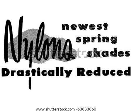 Nylons Reduced - Ad Header - Retro Clipart - stock vector