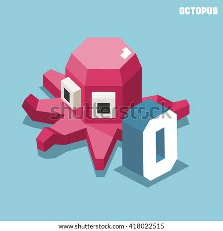 O for Octopus. Animal Alphabet collection. vector illustration - stock vector