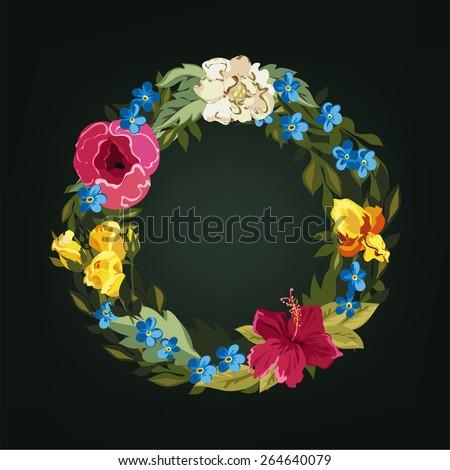 O letter. Flower capital alphabet. Colorful font. Uppercase.  Vector illustration. - stock vector