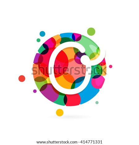 O letter logo in circle with rainbow dots. Font style, vector design template elements for your application or corporate identity. - stock vector