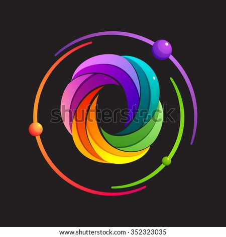 O letter logo with atomic or space orbits. Abstract trendy multicolored vector design template elements for your application or corporate identity. - stock vector