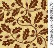 oak leaf acorn seamless background - stock vector