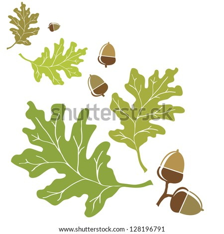 Oak leaves and acorns motif. EPS10 vector format with space for your text. - stock vector