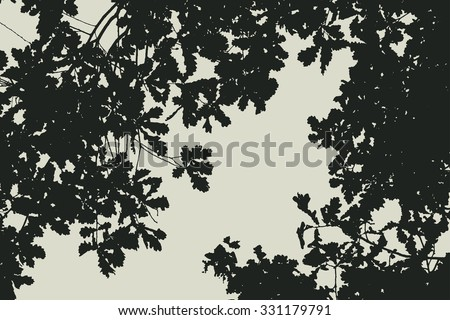 oak tree and branches silhouette. detailed vector illustration