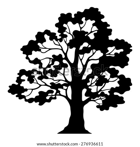 Oak Tree Pictogram, Black Silhouette and Contours Isolated on White Background. Vector - stock vector