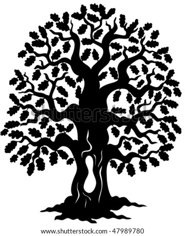 oak tree silhouette vector illustration stock vector 47989780 rh shutterstock com oak tree vector clip art oak tree vector silhouette