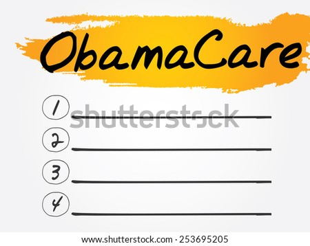ObamaCare Blank List, vector concept background - stock vector