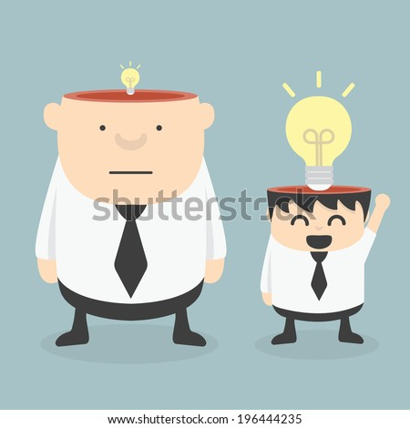 Obese Businessman wit Small Ideas and Small Businessman wit  Big ideas - stock vector