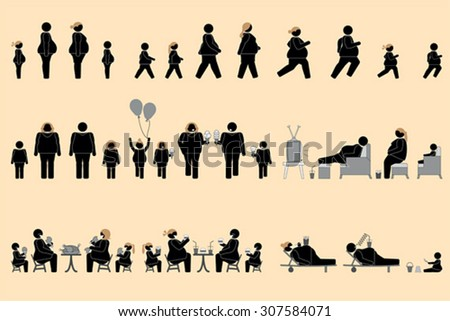 Obese people pictogram - stock vector