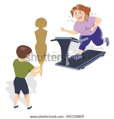 Obese women involved in fitness and is committed to the ideal figure - stock vector
