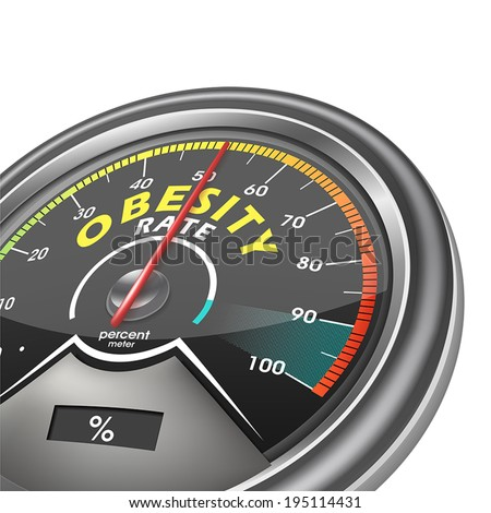 obesity rate conceptual meter isolated on white background - stock vector