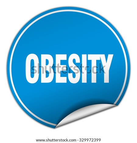obesity round blue sticker isolated on white