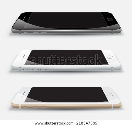 Object phone set mockup. Vector Illustration. Smartphone perspective realistic. Can use for printing and web object. Game and application mockups. - stock vector