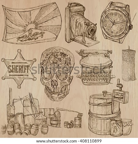 OBJECTS. Description - An hand drawn vector pack, freehand sketching. Editable in layers and groups. Colored background is isolated.