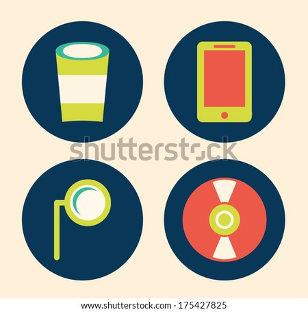 objects design over  pink  background vector illustration - stock vector