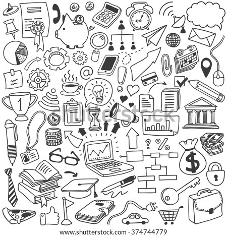 objects doodle set - stock vector