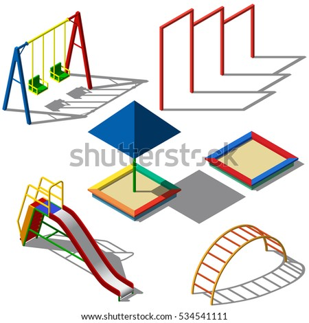 Objects for children's playgrounds isometry. Swing, children's slide, sandbox, horizontal bar. For your business project. Vector Illustration