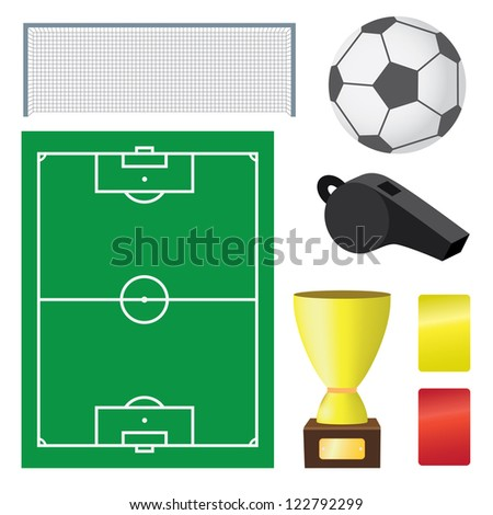 Objects for soccer game on the white background. - stock vector