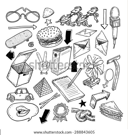 objects icon doodle set, hand drawn illustration.