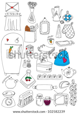 objects in the picture painted on a kitchen - stock vector