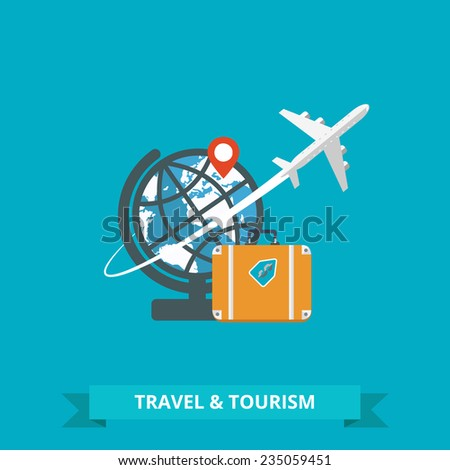 Objects of tourism and travel in the flat design. Tourism concept image.Holidays and vacation.Sea, ocean, land, air travelling. Vector Illustration. - stock vector