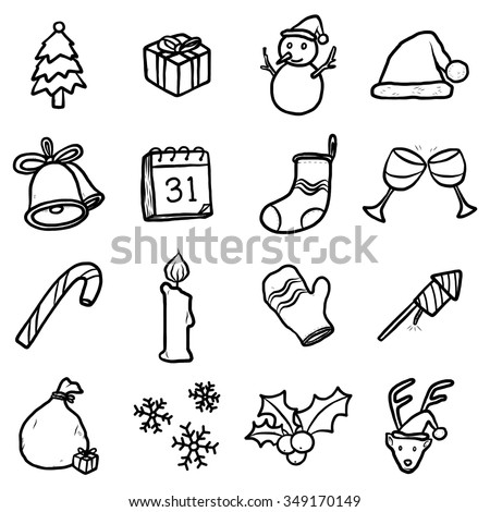 objects or icons set / cartoon vector and illustration, hand drawn style, isolated on white background. - stock vector