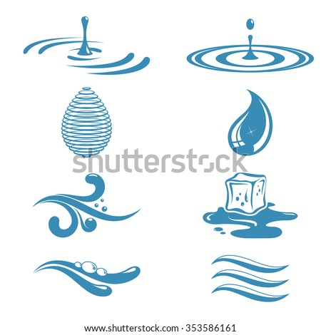 Objects symbolizing water - stock vector
