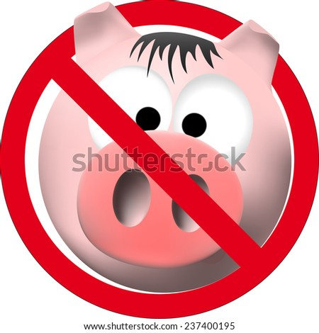 observe cleanliness sign with pink pig - stock vector