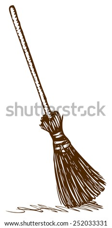 Obsolete wattled broom on long holder isolated on white background. Vector monochrome freehand ink drawn picture sketchy in style of antiquity pen on paper with space for text - stock vector