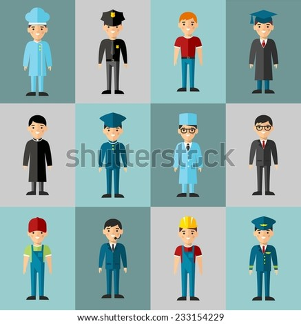 Occupation avatars in colorful style  - stock vector
