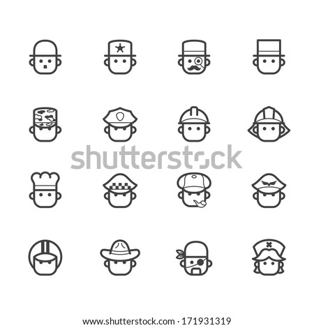 occupation black icon set 1 on white background - stock vector