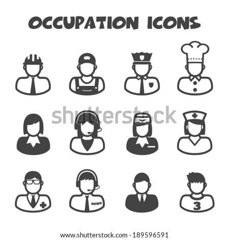 occupation icons, mono vector symbols - stock vector
