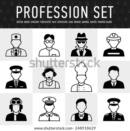 occupation icons, mono vector symbols a large set of illustrations in a simple linear style - stock vector