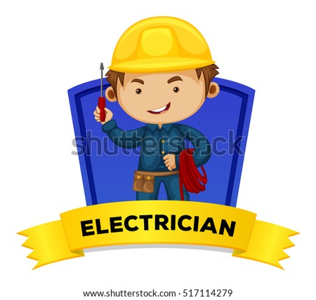 Clip Art Electrician Clipart clipart electrician illustration stock photos royalty free images occupation wordcard with word illustration