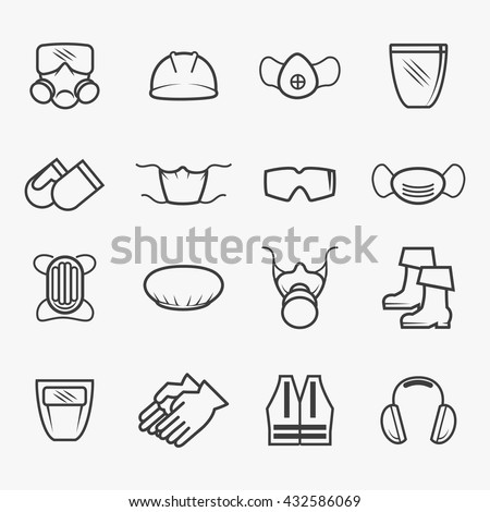 Occupational safety and health icons. Job protection signs. Vector illustration - stock vector