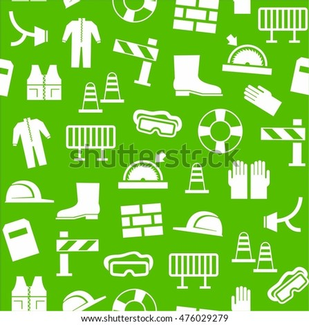 Occupational safety, personal security, background, seamless, green. White flat icons of protective clothing and protective items against a green background. Vector background.