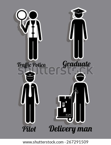 Occupations  design over grey background, vector illustration
