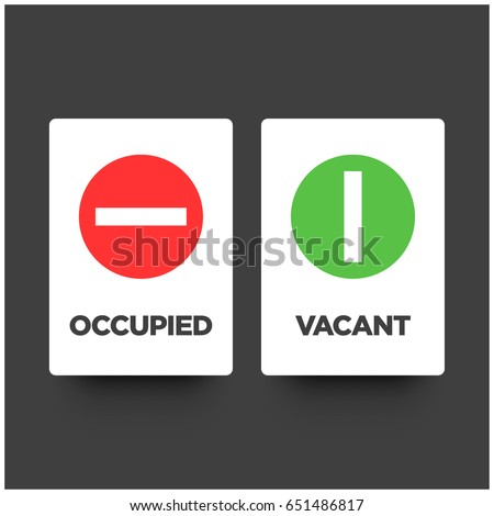 Occupied Vacant Sign Flat Style Modern Stock Vector