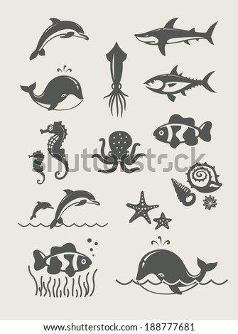 Ocean and sea fishes.Set of simple icons Eps8 vector illustration - stock vector