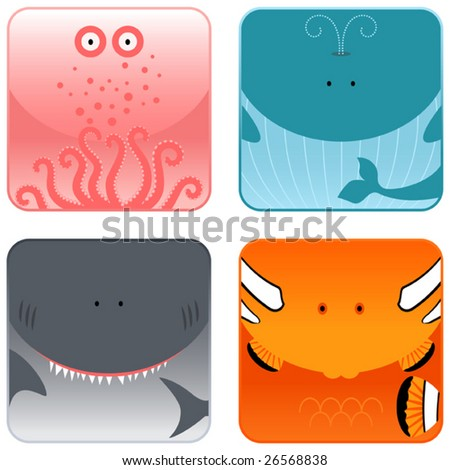 Ocean animals icon set - octopus, whale, shark, clown-fish - stock vector