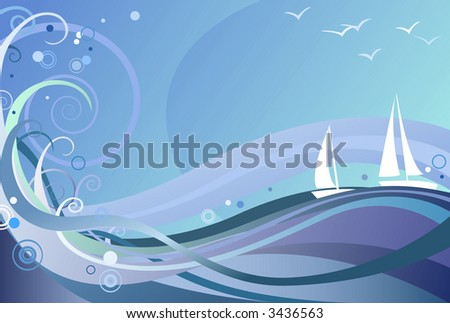 Ocean Background, also available in high-res jpg - stock vector