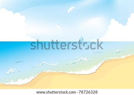 Ocean beach, vector - stock vector